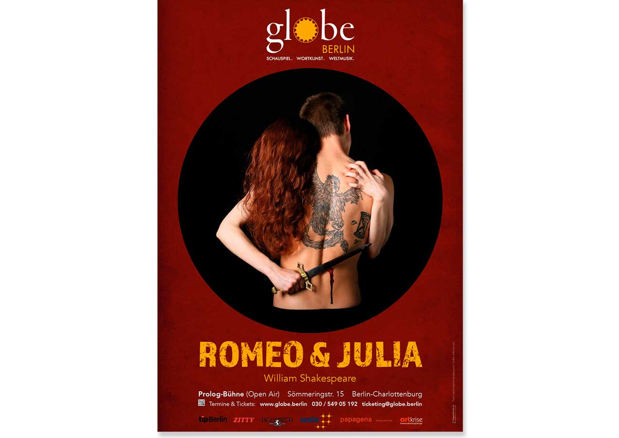 "Plakat, ""Romeo & Julia"", Globe Ensemble Berlin"