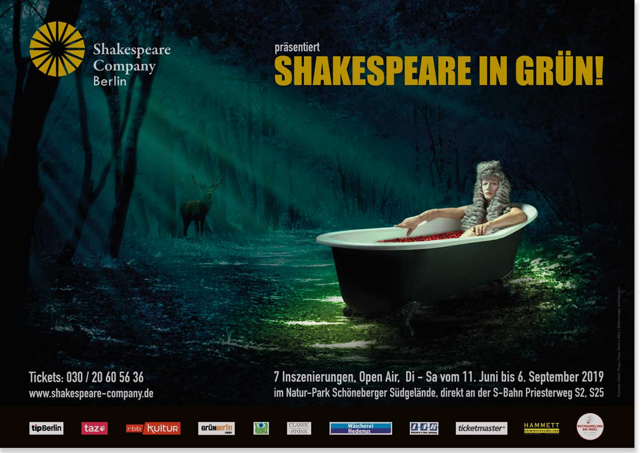 "Plakat, ""Shakespeare in Grün 2017"", Shakespeare Company Berlin"